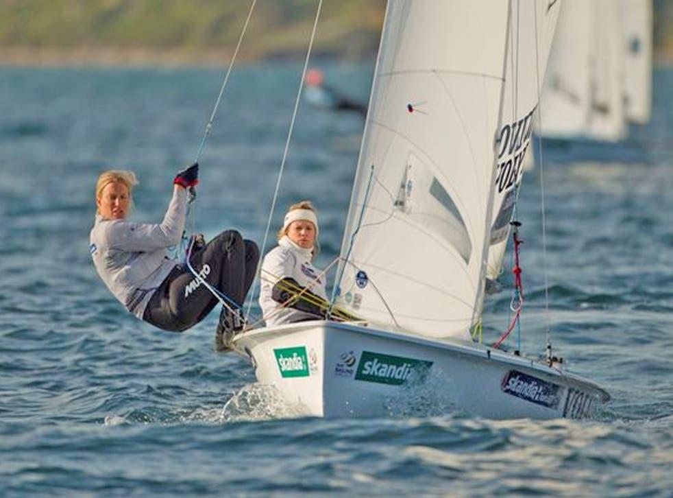 Saskia Clark (left) and Hannah Mills are leading their 470 fleet in Weymouth