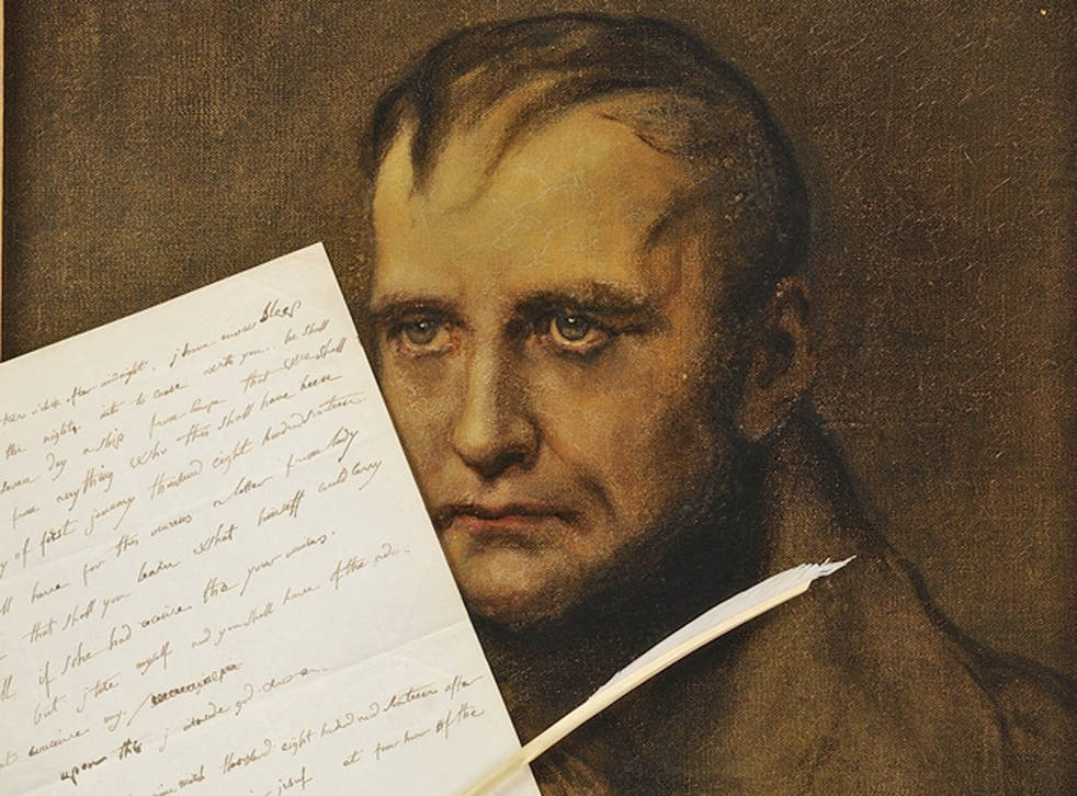 Napoleon, pictured with his letter , which he wrote in 1816 while exiled on the island of St Helena