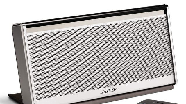 """1. Bose Sound Link Mobile  <p><a href=""""http://www.amazon.co.uk/gp/product/B00CL6HHUW/ref=as_li_ss_tl?ie=UTF8&camp=1634&creative=19450&creativeASIN=B00CL6HHUW&linkCode=as2&tag=independen057-21 """"target=""""_blank"""">£300, amazon</a>  <p>Requiring a power supply, this one won't fare well if it rains or if you are in a park. But it packs a punch in terms of volume and bass.</p>"""