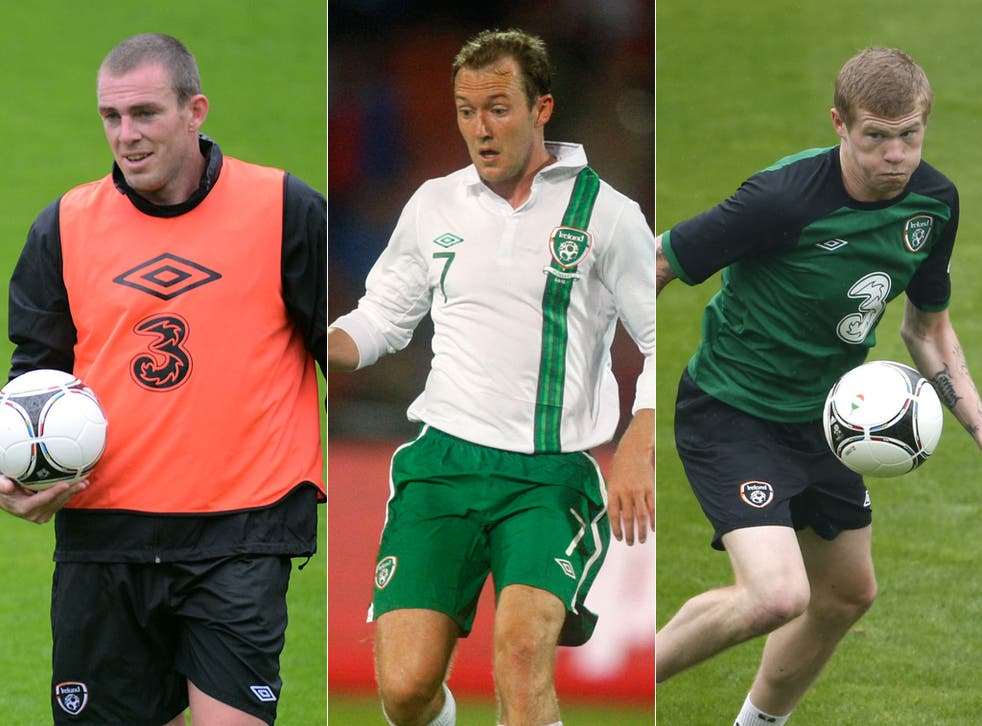 From left to right: Richard Dunne, Aiden McGeady and James McClean
