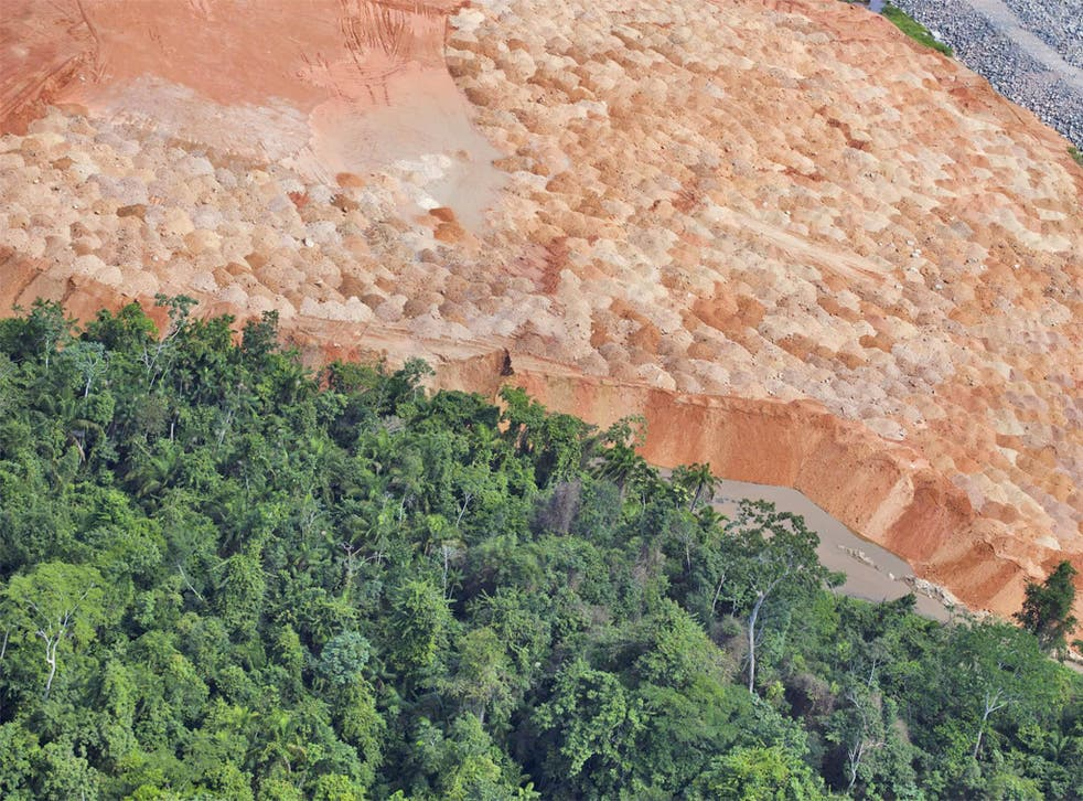 A Greenpeace picture shows the deforestation at the Belo Monte Dam project, near Altamira, Brazil