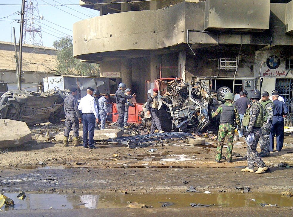 The site of a car bomb attack which killed Shia pilgrims travelling to a religious festival in Baghdad