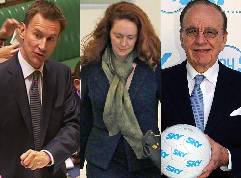 Jeremy Hunt, Rebekah Brooks and Rupert Murdoch