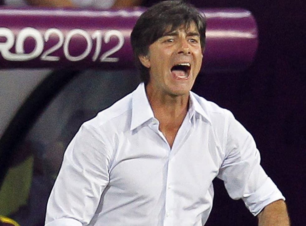 Germany's Joachim Löw reacts to his side's win over the Netherlands in which Mario Gomez scored twice