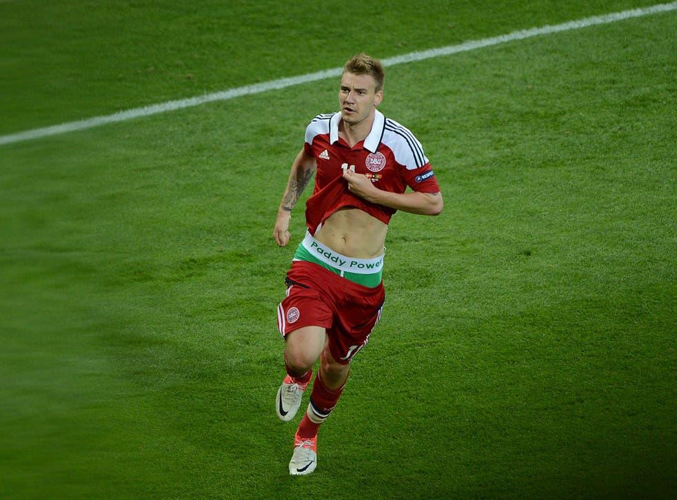 Nicklas Bendtner exposes his underwear after scoring for Denmark