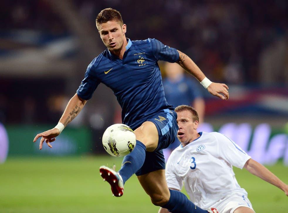Olivier Giroud in action for France