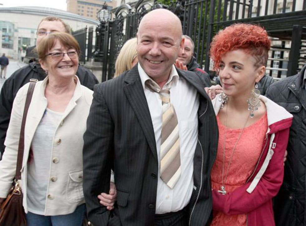 Liam Holden with his family outside the Court of Appeal in Belfast today
