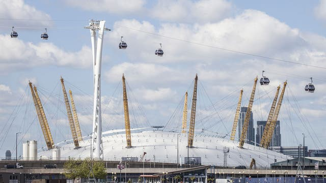 London's skyline will have a new attraction from Thursday as the Thames cable car opens between the O2 Arena, Greenwich, and the ExCeL centre at Royal Victoria Dock.