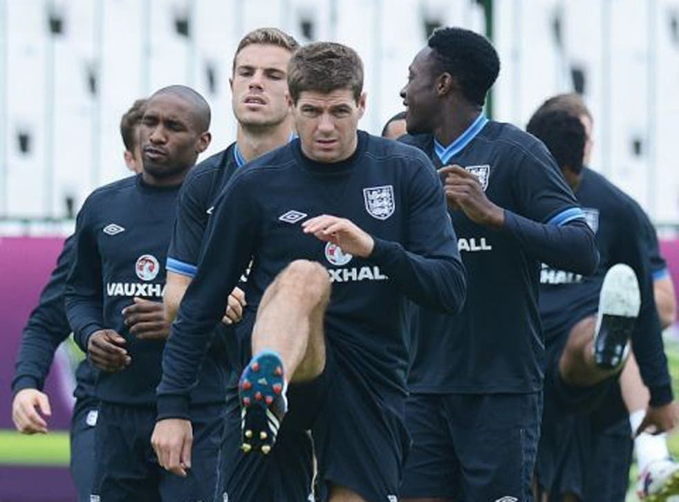 The England team in a training session