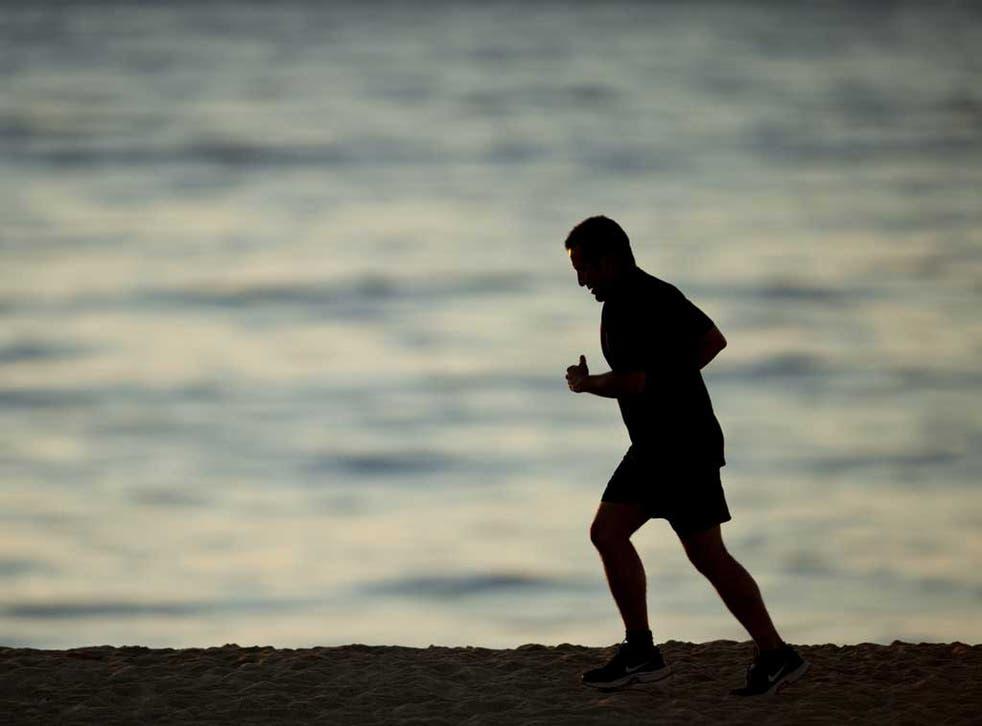 A man going for a run