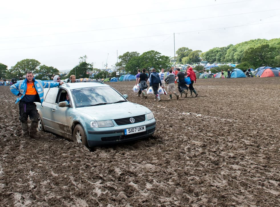 This year revellers at the Isle of Wight Festival were unable to negotiate the muddy conditions in their cars
