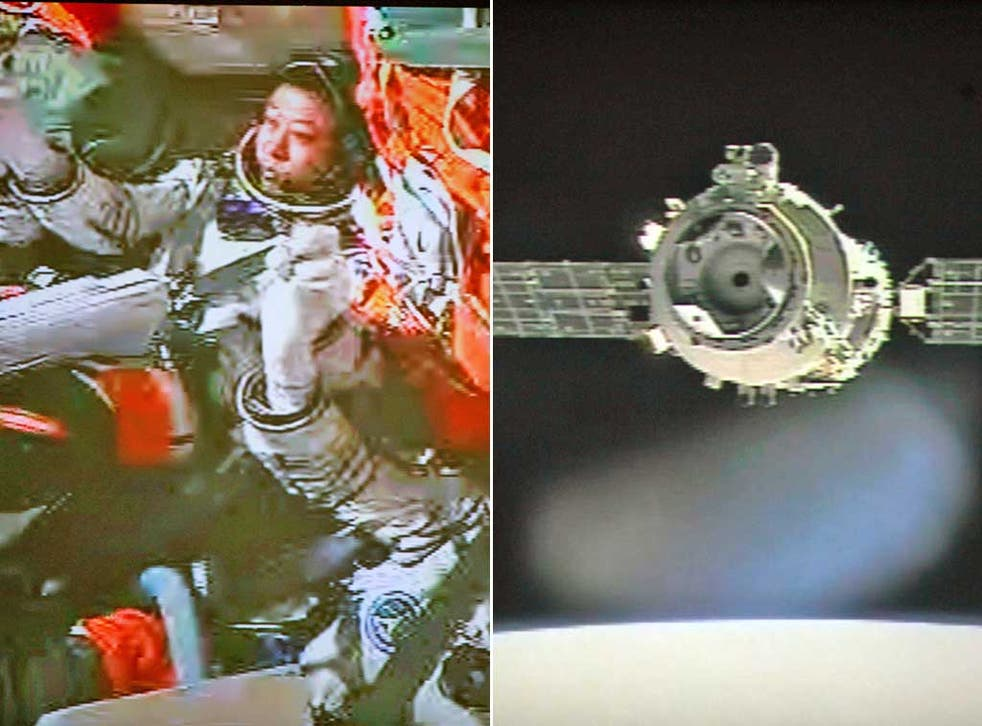 The astronauts, left, and the Shenzhou 9 spacecraft