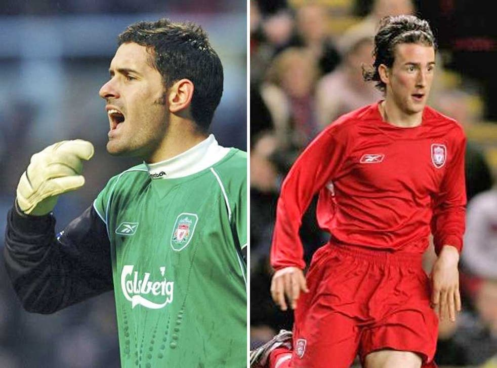 Scott Carson (left) is the kind of young player who too often ends up sitting on the first-team bench. Miki Roque (right), who died at the weekend, was one of he first players Benitez signed at Liverpool.