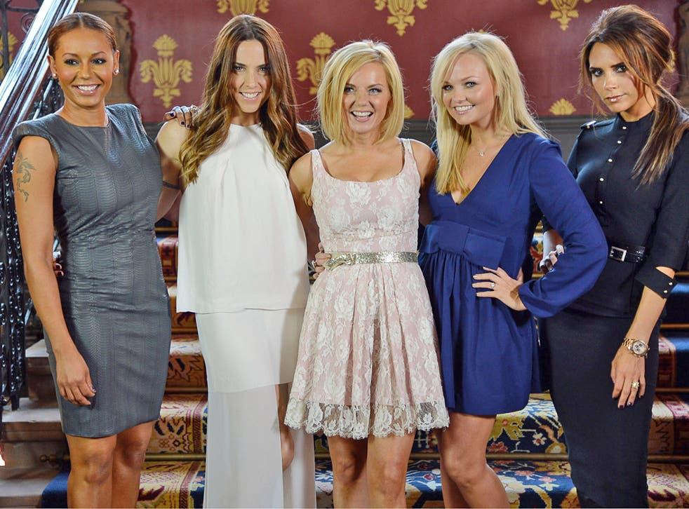 Melanie Brown, Melanie Chisolm, Geri Halliwell, Emma Bunton and Victoria Beckham at St Pancras in June