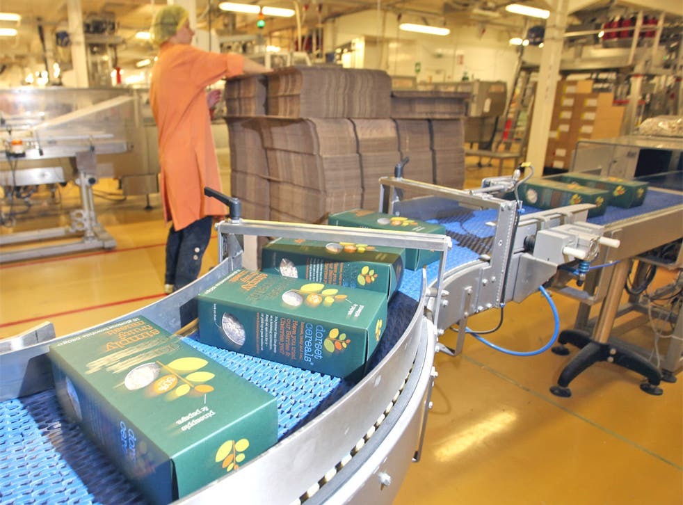 Finished boxes of cereal on the conveyor belt at the Poundbury plant