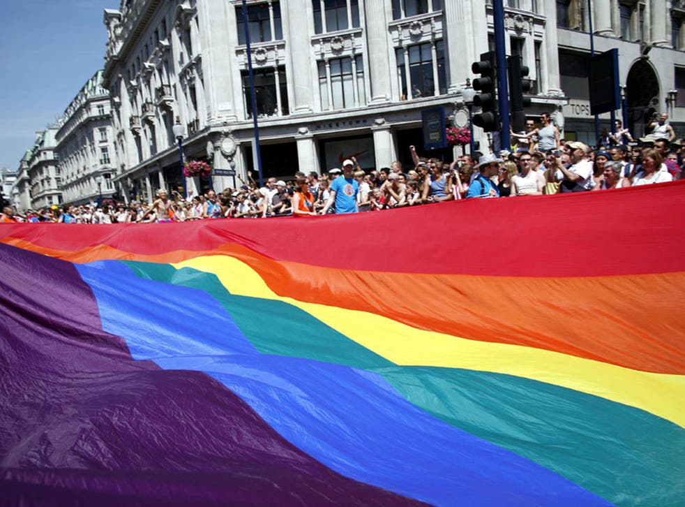 Revellers at the 2006 Gay Pride march in London.