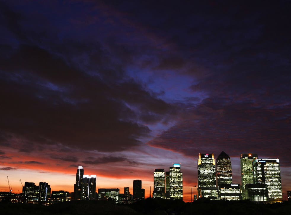 Canary Wharf, the financial district in the city of London