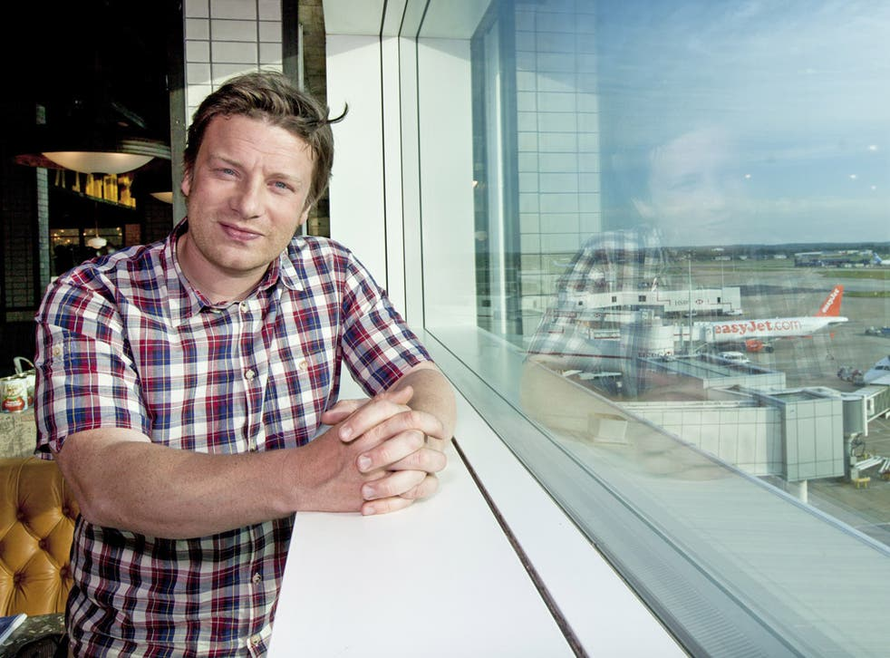Jamie Oliver opening his restaurant at Gatwick airport