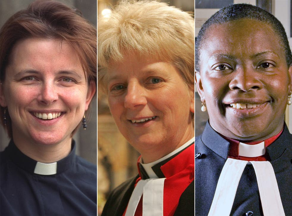 (From left) Lucy Winkett, rector of St James's Piccadilly; Jane Hedges, Canon Steward of Westminster Abbey; Rose Hudson-Wilkin, Chaplain to the Speaker of the House of Commons