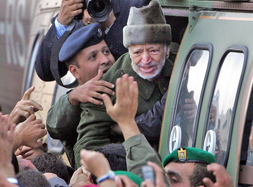 Yasser Arafat prepares to leave Ramallah in October 2004 to fly to Paris for treatment for what was then an unknown illness