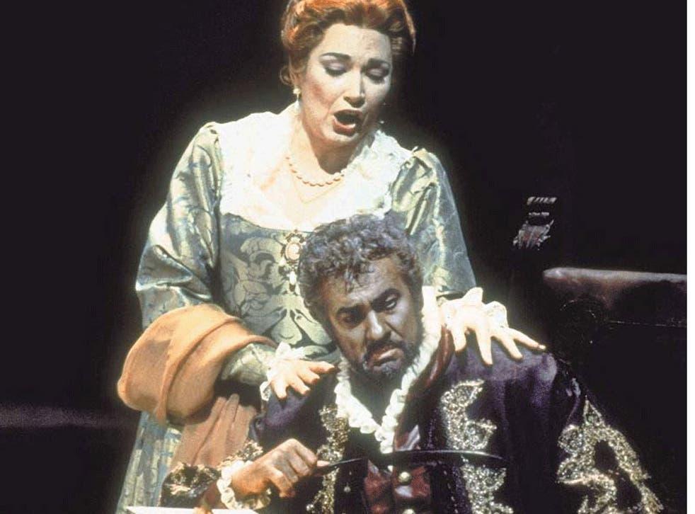 Jealous guy: Placido Domingo in the title role of Verdi's 'Otello', with Carol Vaness as Desdemona