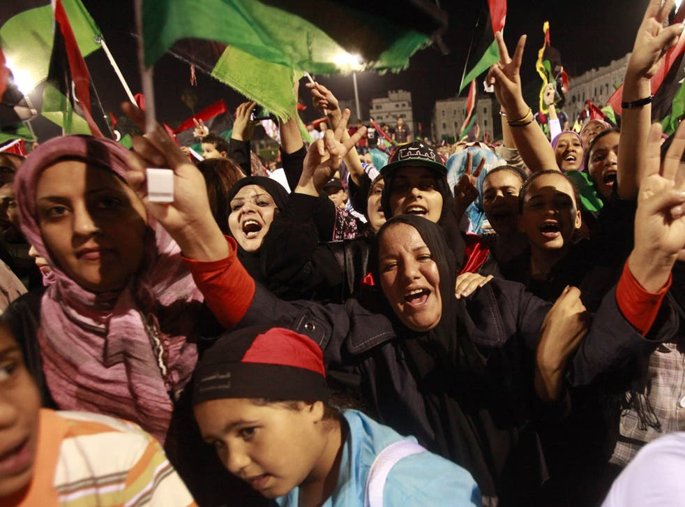 Libyans celebrate the death of Gaddafi