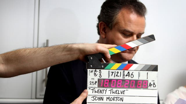 Hugh Bonneville on set