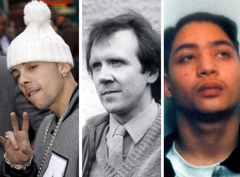 L-R: Rapper Dappy, murdered headteacher Philip Lawrence and killer Learco 'Leo' Chindamo
