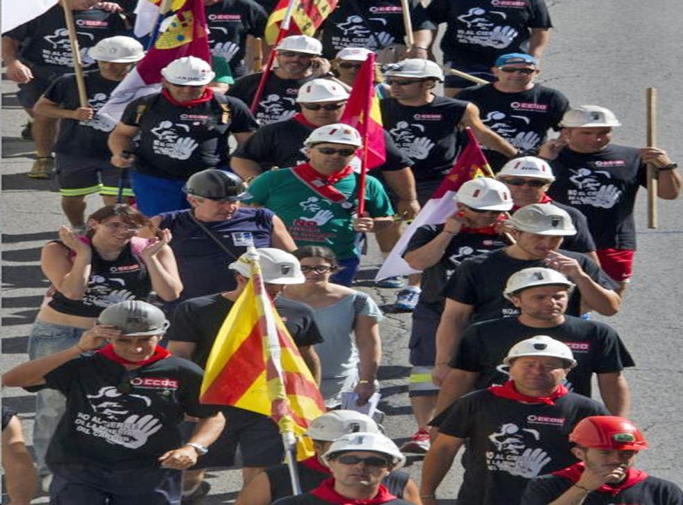 Coal miners from the northern regions of Asturias, Aragón and León march to Madrid, where they plan a mass protest today