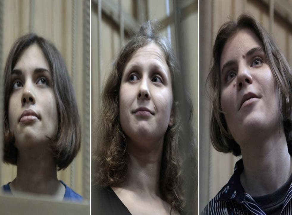 Members of Pussy Riot, from left, Nadezhda Tolokonnikova, Maria Alyokhina and Yekaterina Samutsevich, in court in Moscow