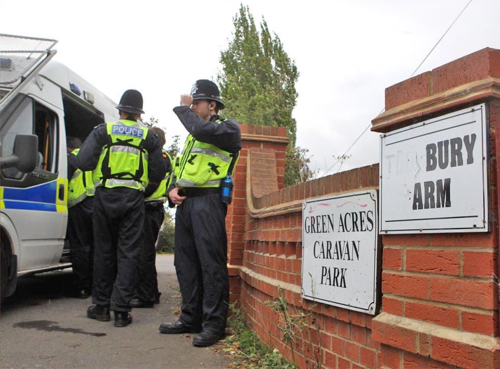 Police at the Greenacre caravan site in Leighton Buzzard