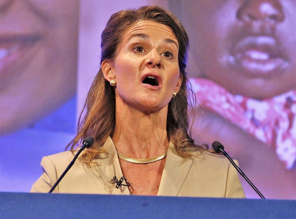 Melinda Gates speaks at the summit in London yesterday
