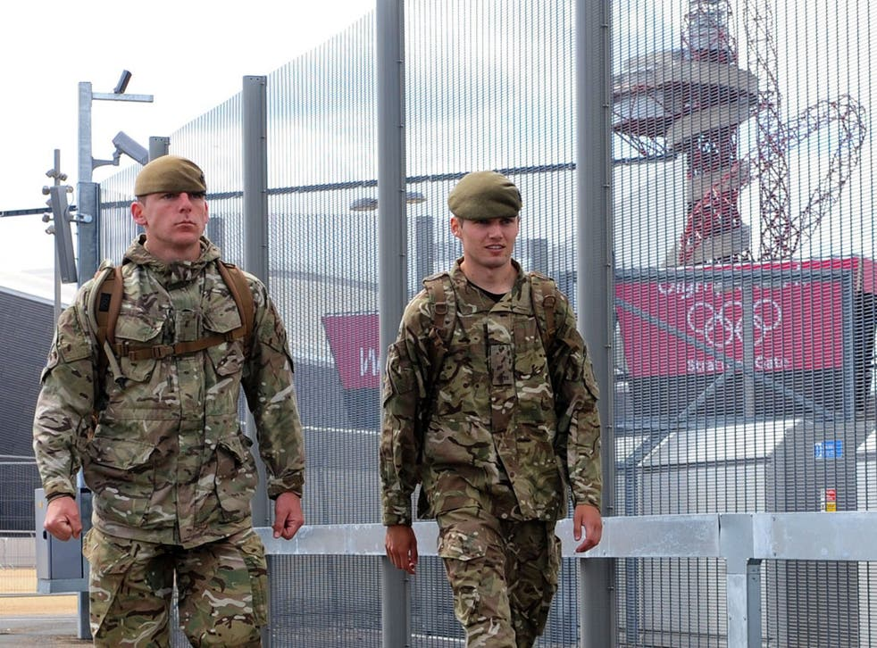 British troops on patrol at the Olympic Park in Stratford yesterday