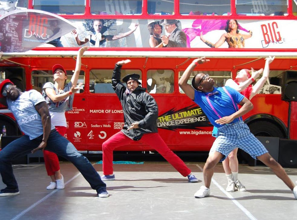 The Big Dance bus stops in Islington, north London
