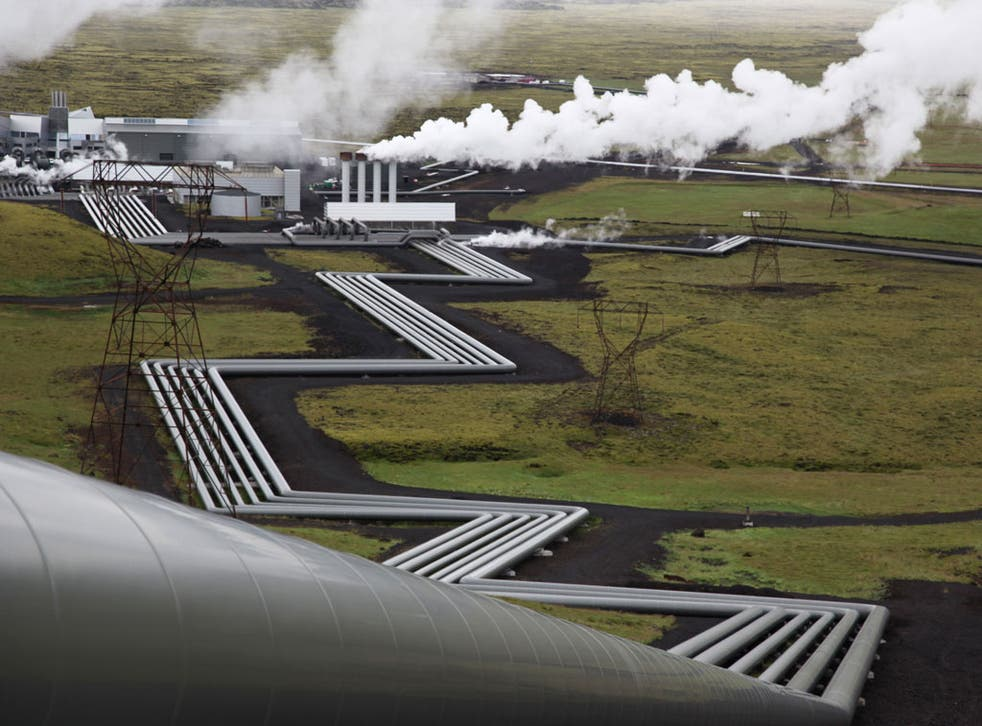 Steaming: Giant ducts carry heat from the Earth's core at a Reykjavik plant