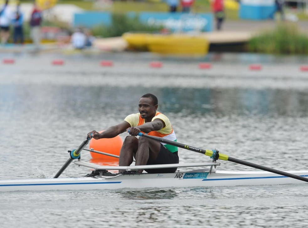July 30, 2012: Niger's Hamadou Djibo Issaka is pictured after competing in the men's single sculls semi-finals of the rowing event during the London 2012 Olympic Games, at Eton Dorney. He finished last by a distance.
