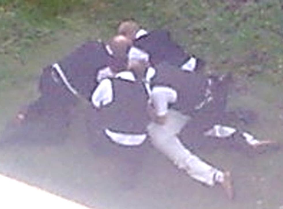 A photograph of Sean Rigg being restrained by police officers which was taken by an eye witness and helped prove that he was held down for at least four minutes