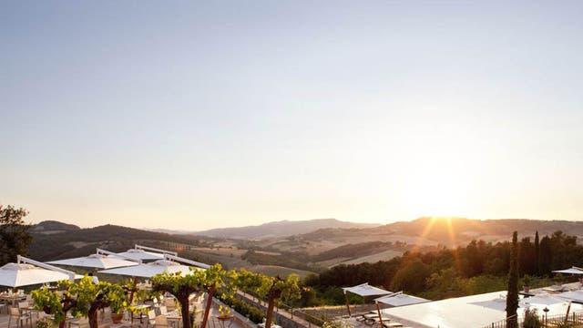 Tuscan sun: the terrace at the Castello di Casole