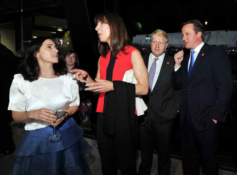 Best of rivals: The Mayor and PM with their wives at the Olympic opening ceremony