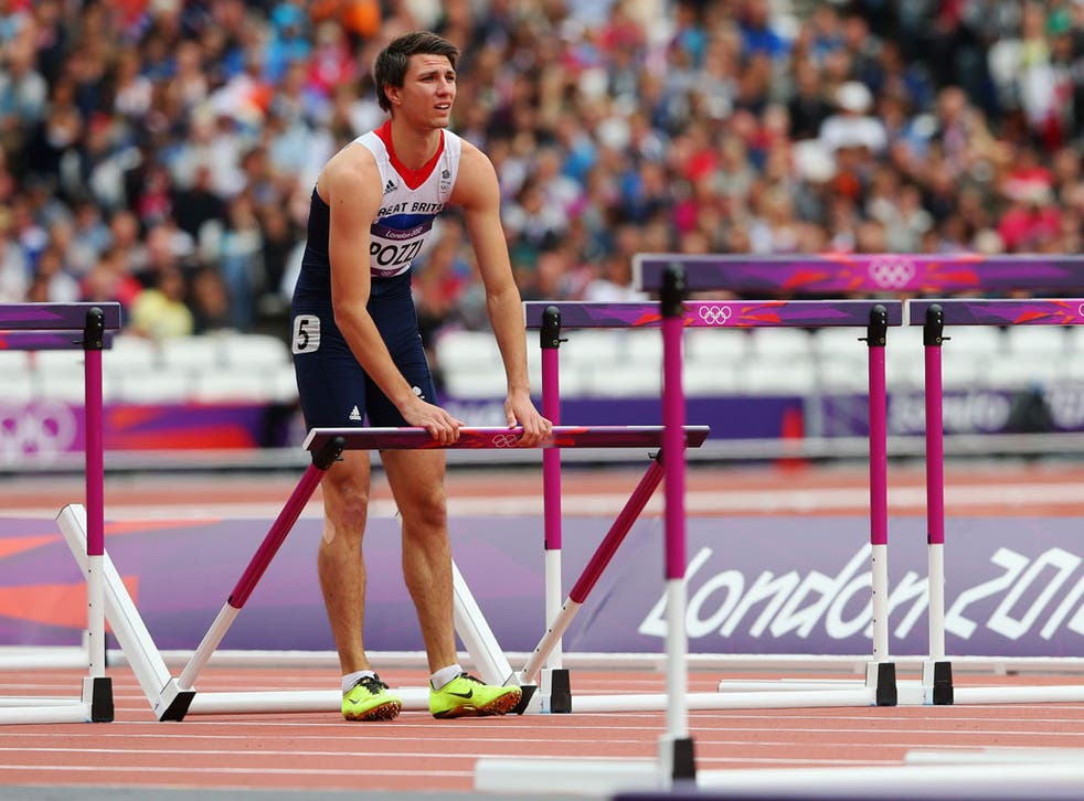 Team GB's Andrew Pozzi limped out of the 110m hurdles today