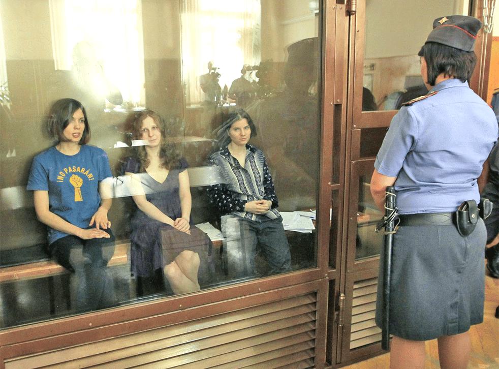 Pussy Riot members, from left, Nadezhda Tolokonnikova, Maria Alekhina and Yekaterina Samusevich