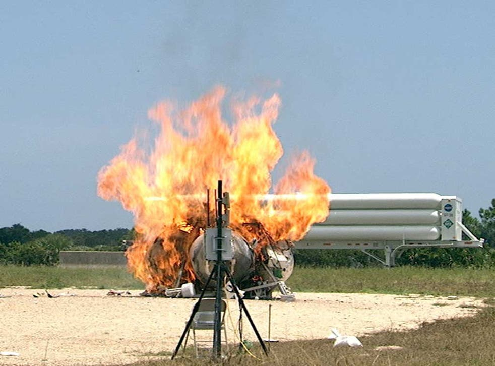 Nasa's project Morpheus lander is seen bursting into flames during a test at the Kennedy Space Centre