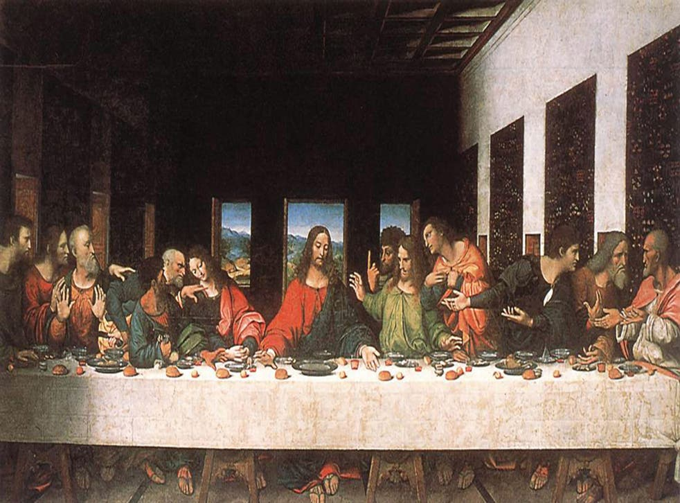 The Last Supper: James the Lesser/Leonardo, second from left. Thomas/Leonardo, sixth from right, with extended finger