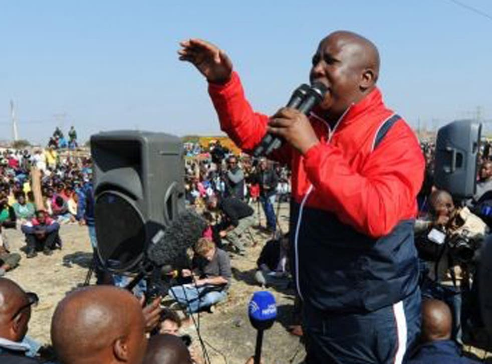 """""""They had no right to shoot,"""" Malema said, even if the miners had opened fire first."""