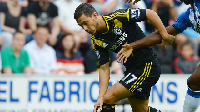 Debutant Eden Hazard played a starring role in Chelsea's win over Wigan this afternoon