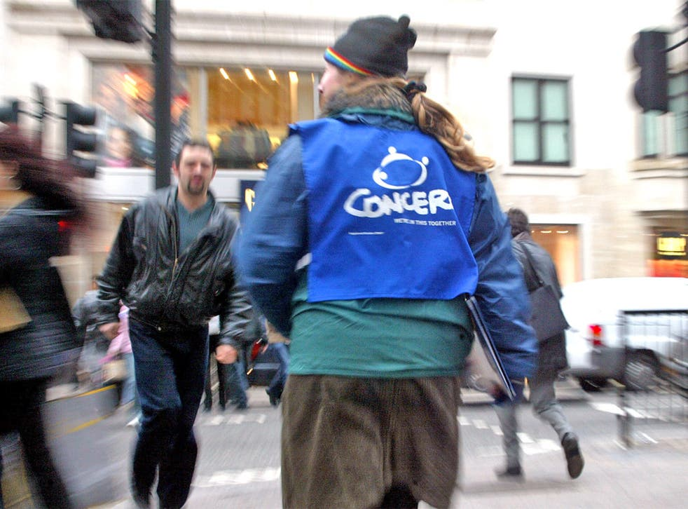 Chuggers cannot approach people visibly going to work