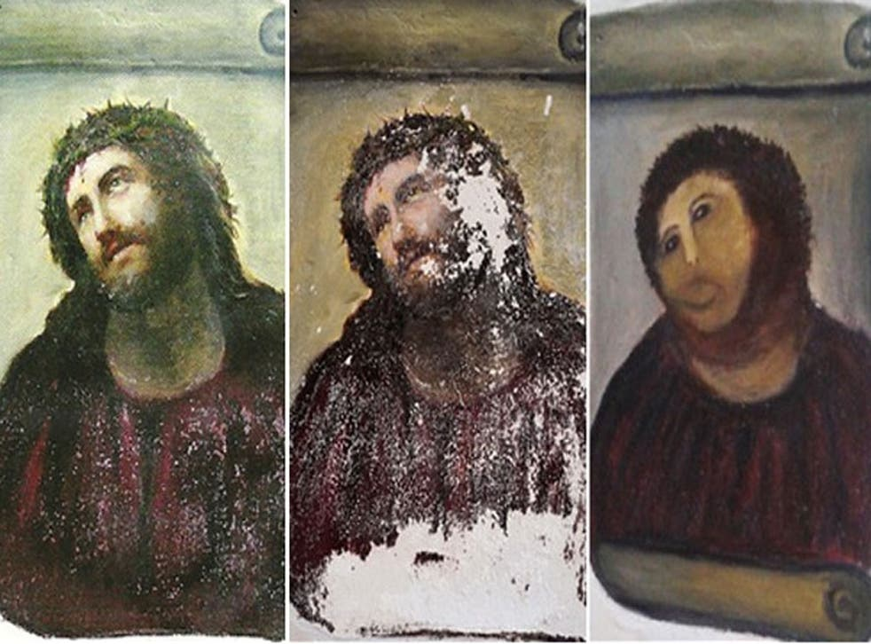 Three separate photos show the extent of the damage done by the unnamed woman to Elias Garcia Martinez's work 'Ecce Homo'.