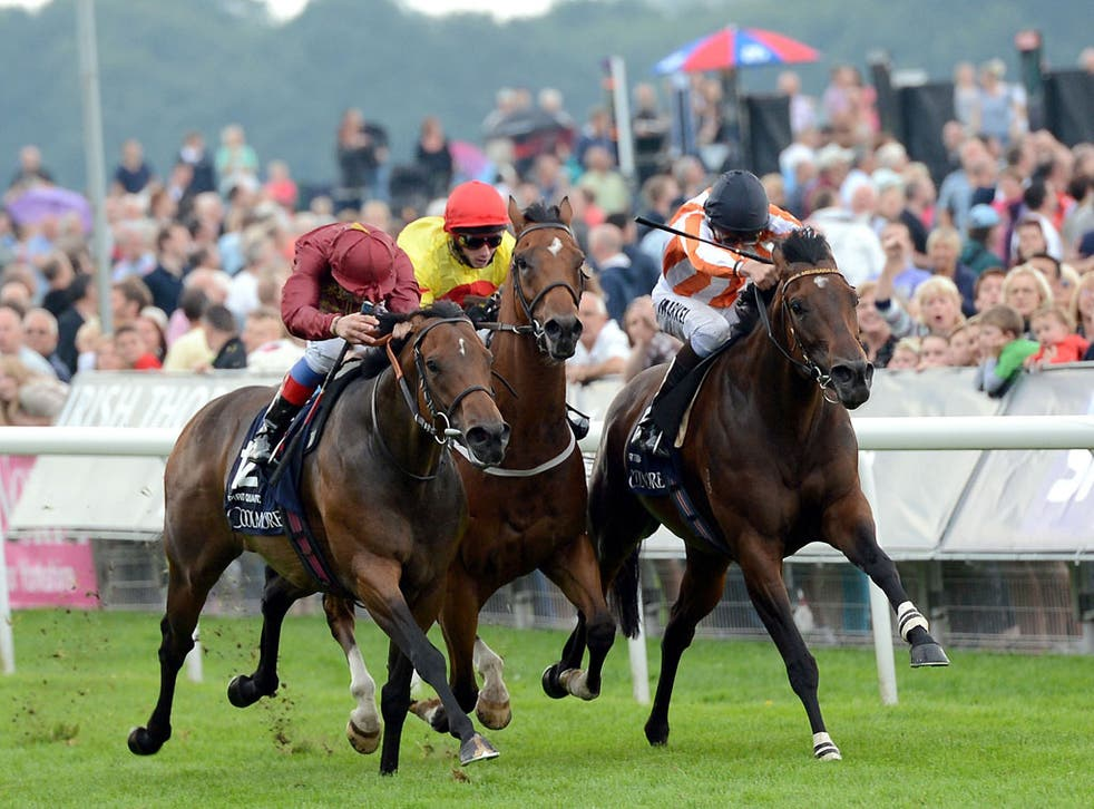 Ortensia (right), ridden by William Buick, on her way to victory in the Nunthorpe yesterday