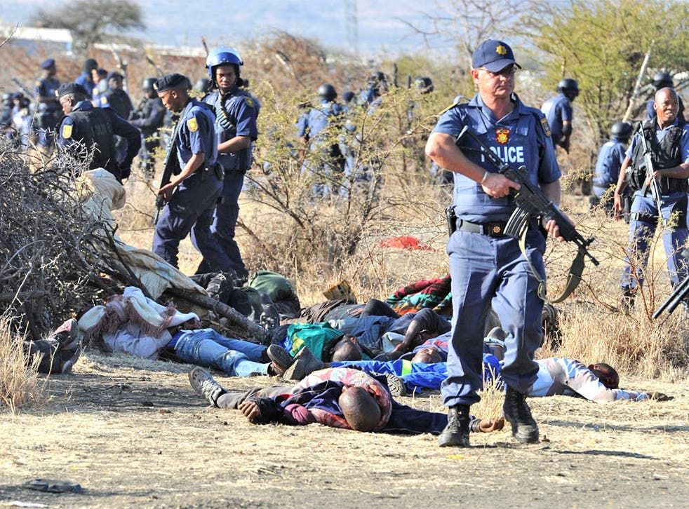 Police at the scene of the Lonmin mine massacre earlier this month
