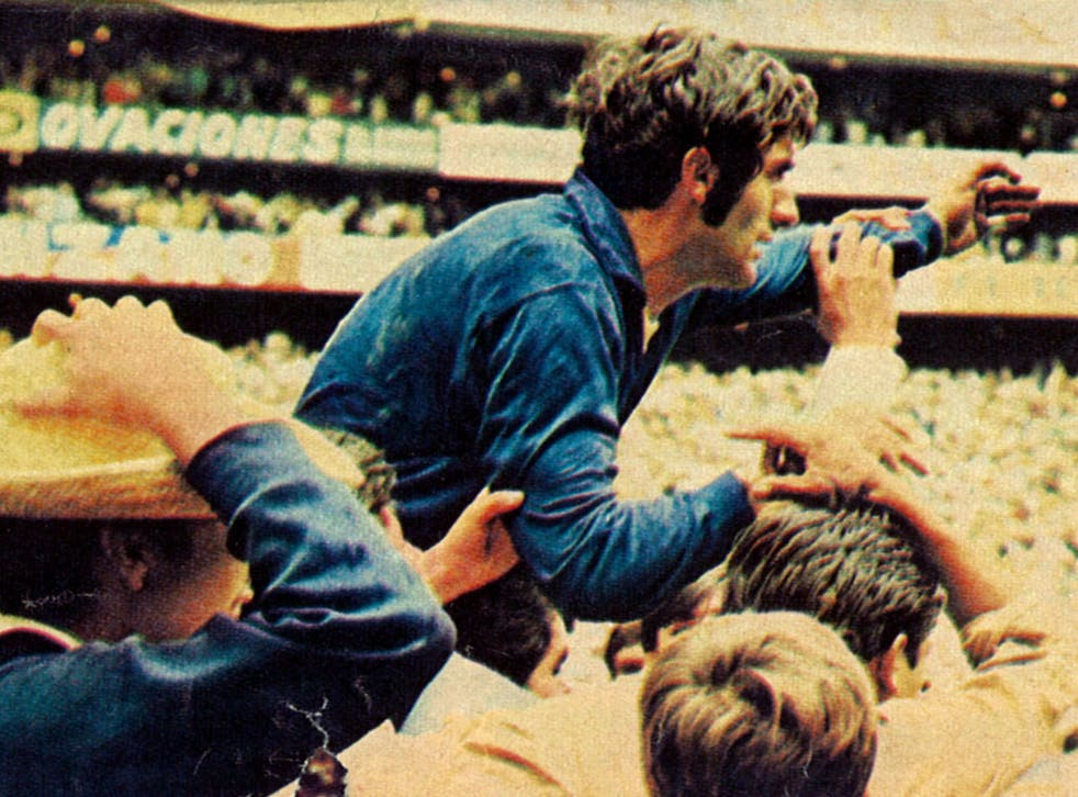 Felix is chaired off at the end of the 1970 World Cup final